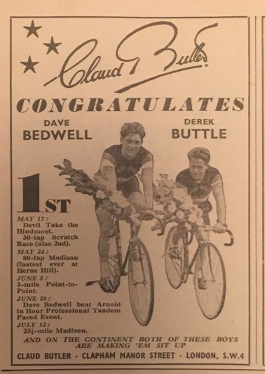 Ad from The Bicycle 1952. Dave and Derek rode CB bikes