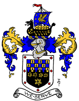 Metropolitan Borough of Wandsworth coat of arms with teardrops in the gold squares that represent the tears of the French Huguenots