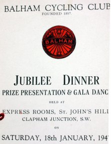 Incomplete Balham CC Jubilee Dinner menu reveals the club was founded in 1897